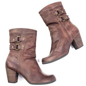 Nurture   Genuine Leather Mid Calf Boots Brown